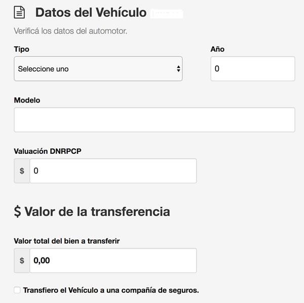 Formulario de datos del vehículo